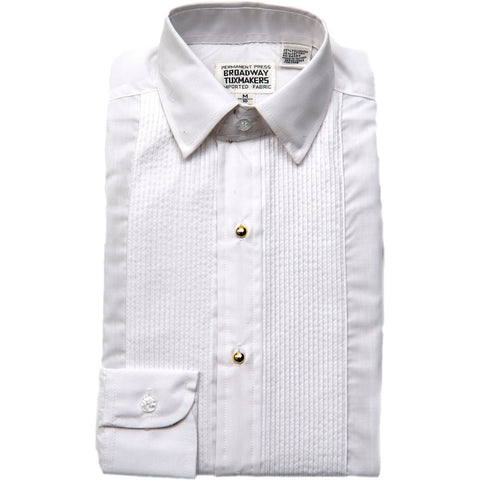 Boy's 1/8 inch Pleated White Laydown Collar Tuxedo Shirt