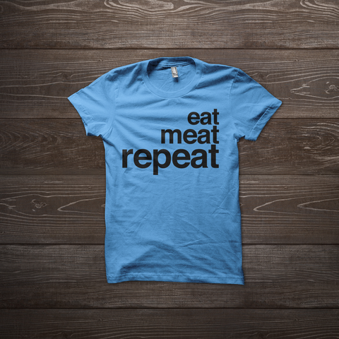 Eat Meat Repeat Shirt - Blue