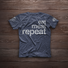 Eat Meat Repeat Shirt - Heather Navy Blue