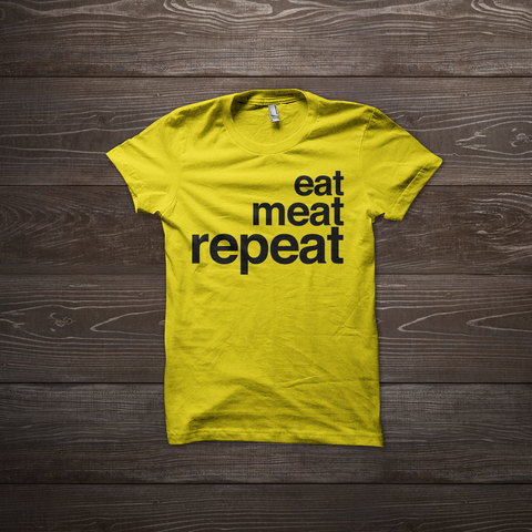 Eat Meat Repeat Shirt - Yellow