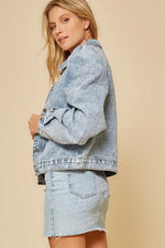 Puff Sleeves Denim Jacket