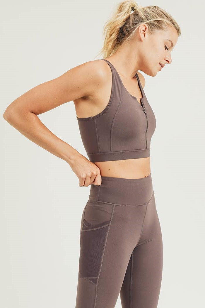 Zip-Up Racerback Sports Bra