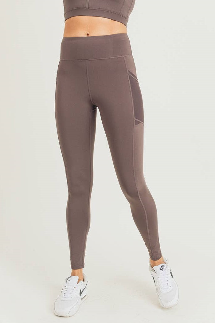 Overlay Mesh Pocket High-waist Leggings