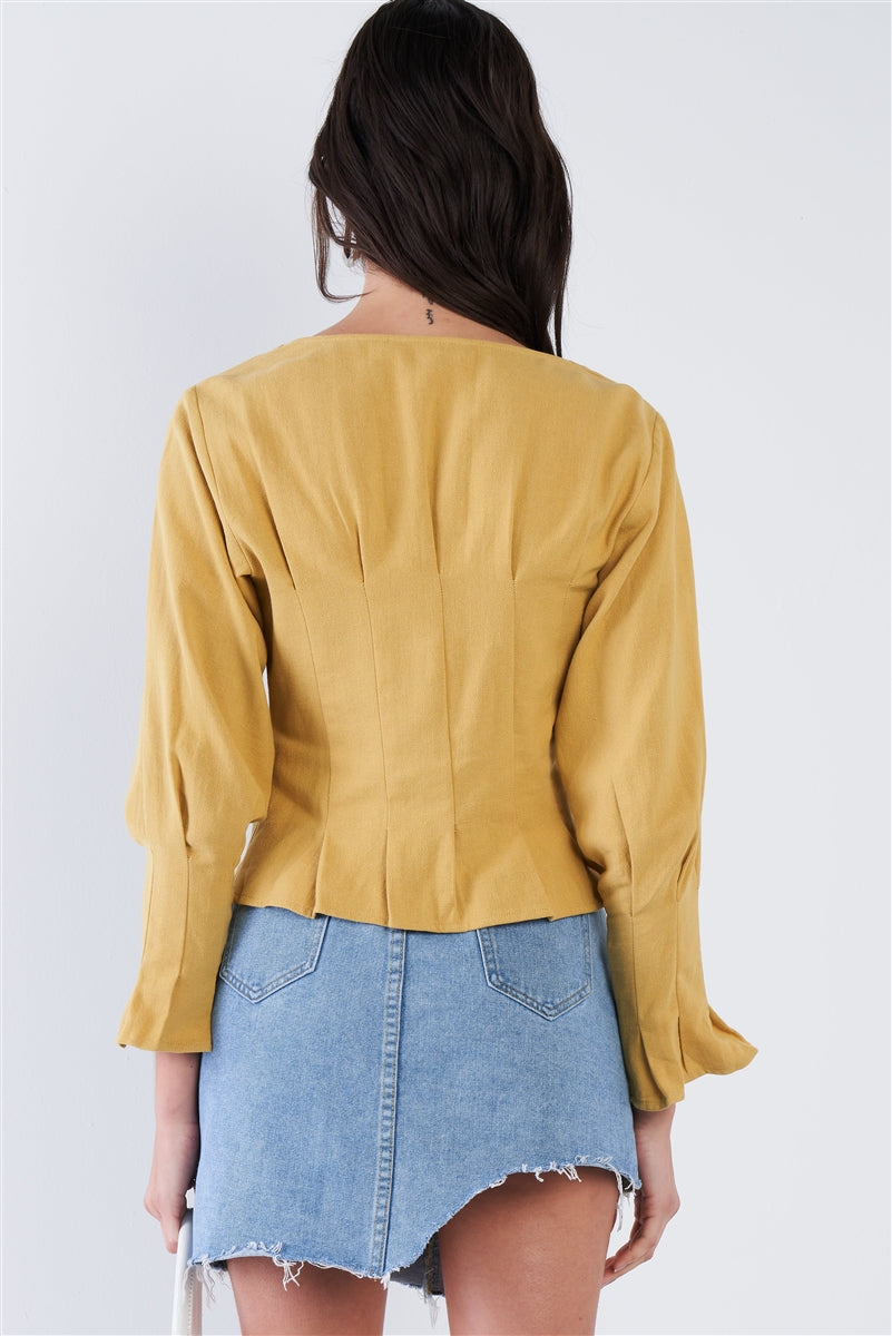 Long Sleeve Pleated Front Button Top