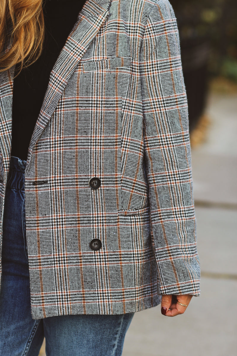 Kylie Plaid Double Breasted Blazer