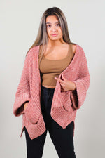Cable Knit 3/4 Sleeve Cardigan