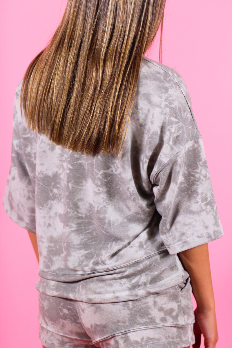 Drop Shoulder Tie Dye Print Top