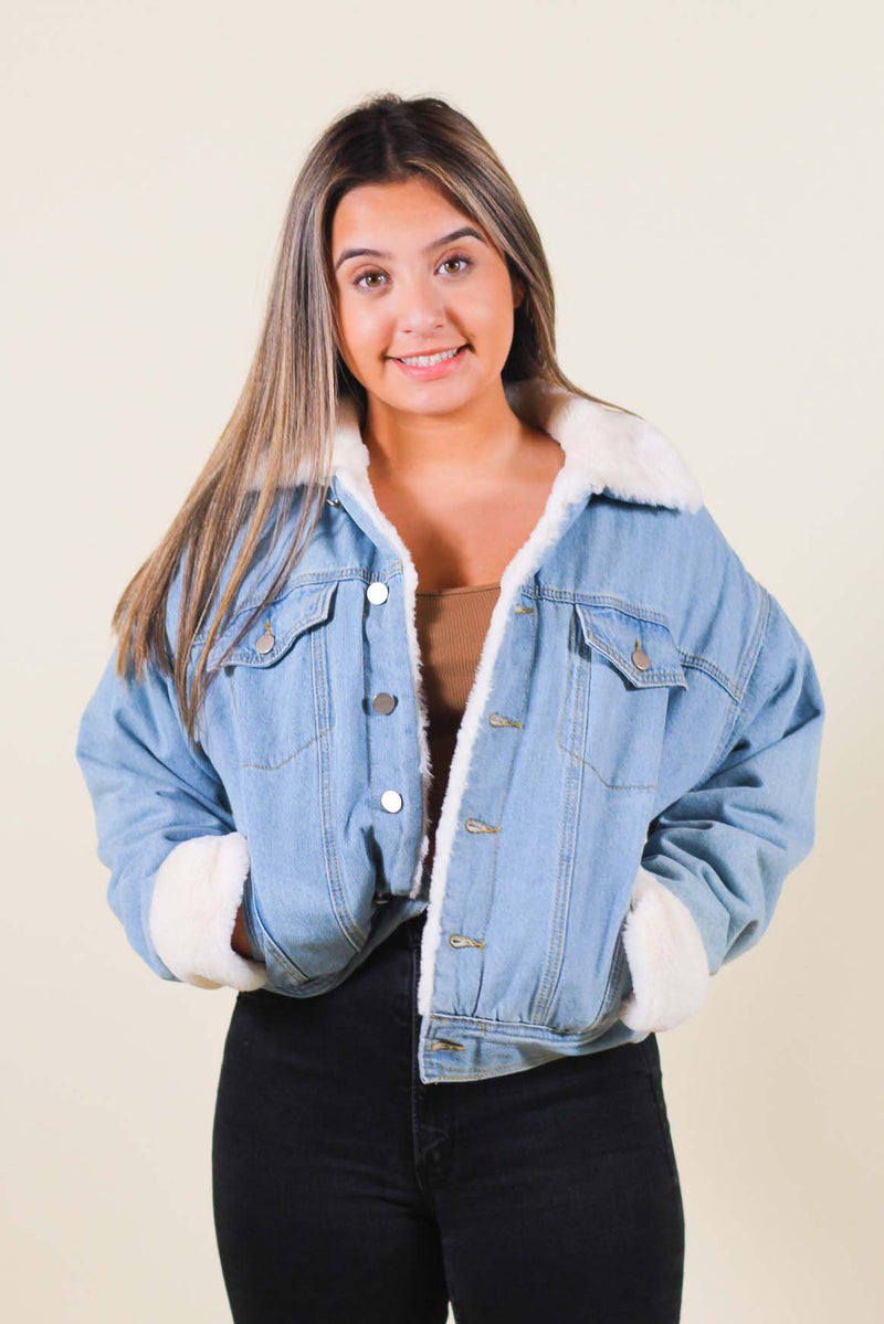 Faux Fur Contrast Oversized Denim Jacket