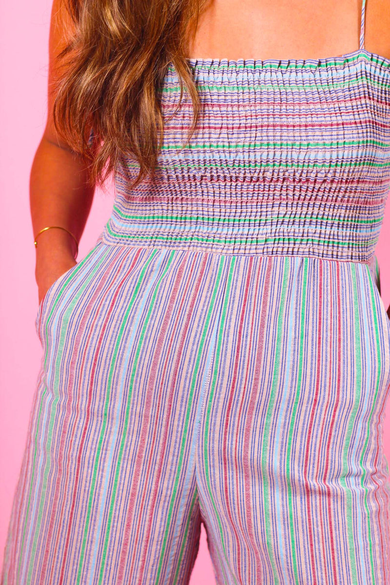 Stripe Smocked Jumpsuit