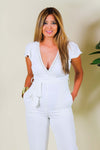Flat Woven Surplice Tapered Self Tie Jumpsuit