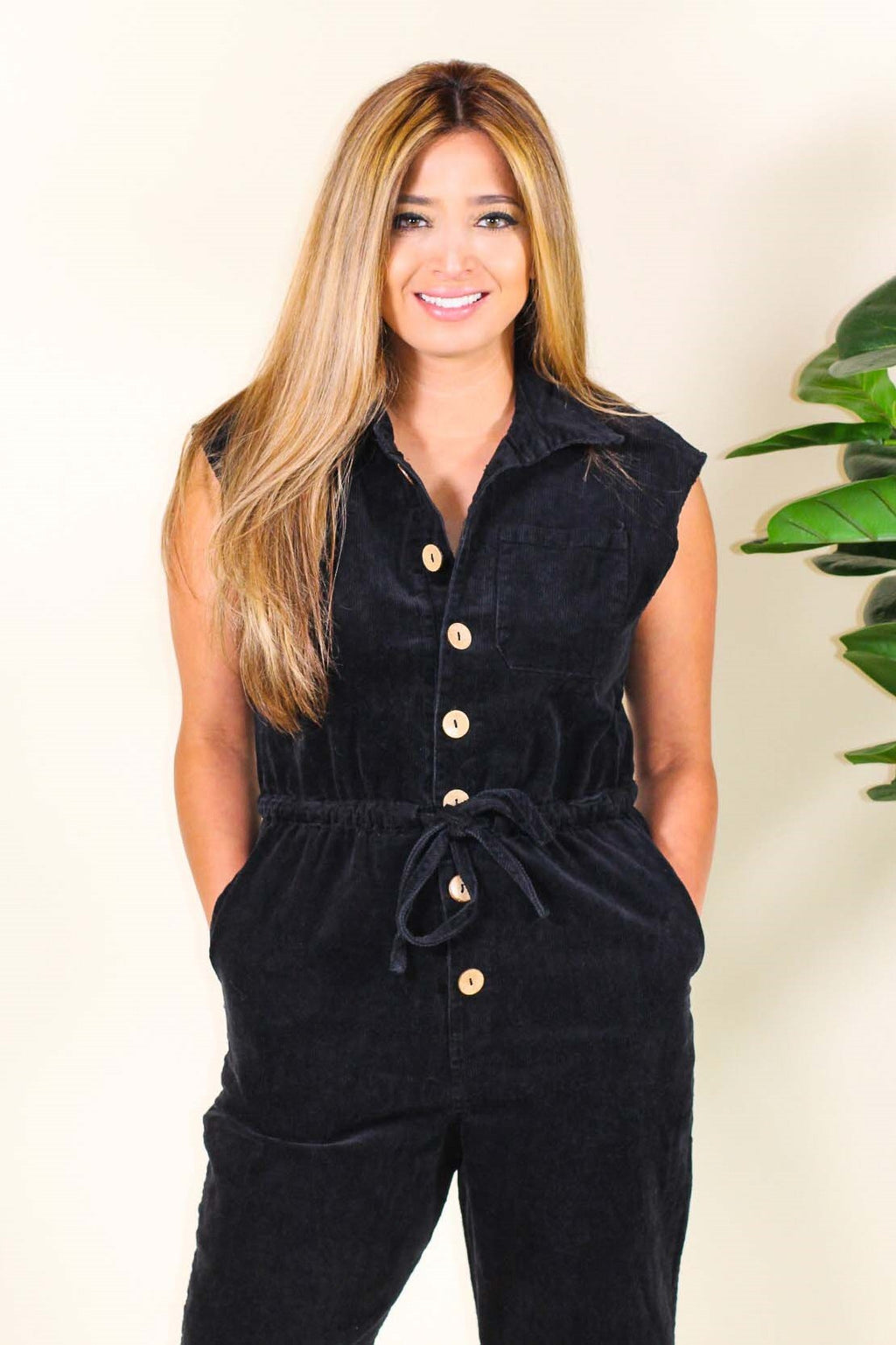 Corduroy Engineer Sleeveless Jumpsuit