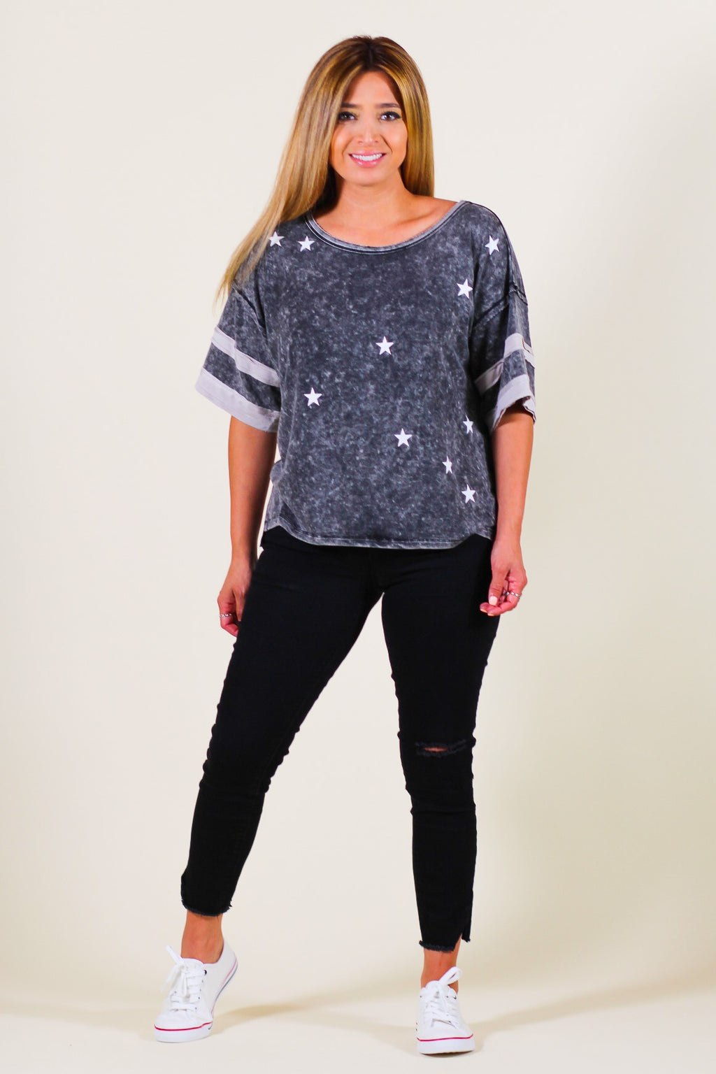 Star Print Mineral Washed Tee