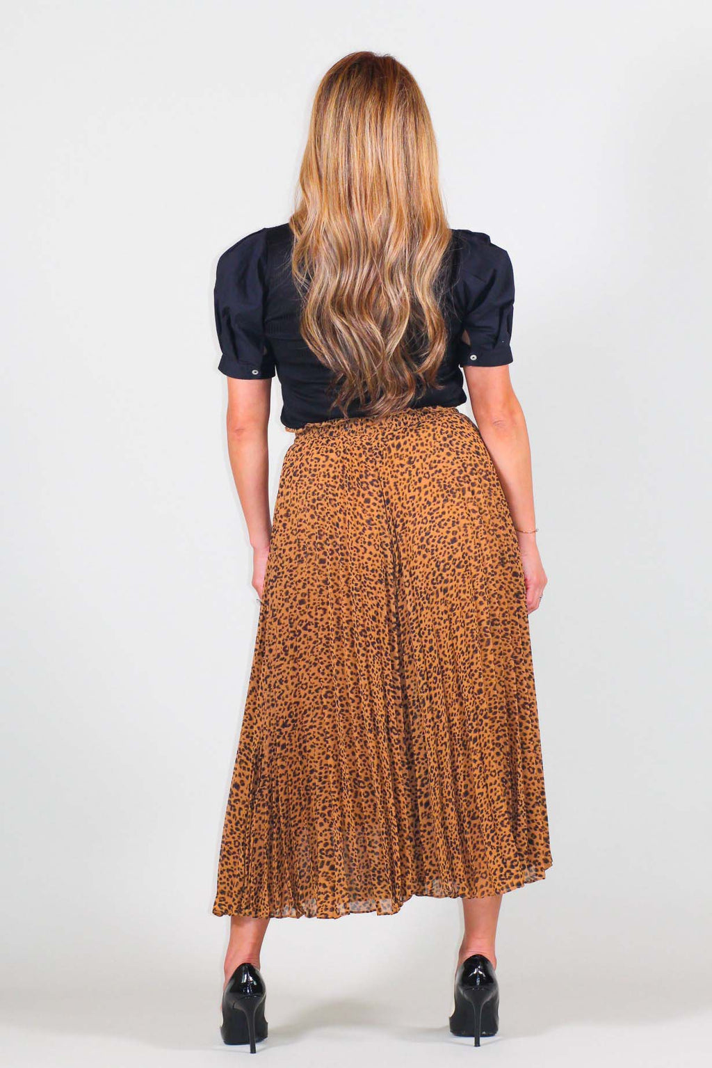 Leopard Print Pleated Wide Pants