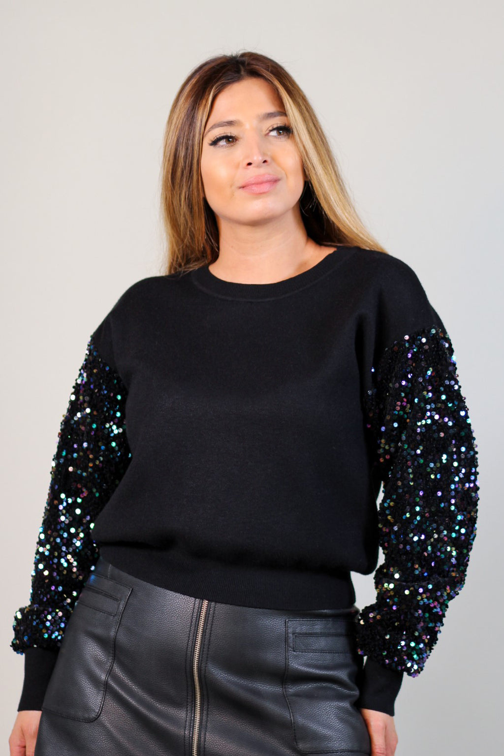 Iridescent Contrast Sequin Sweater