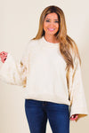 Pearl Statement Chenille Knit Sweater