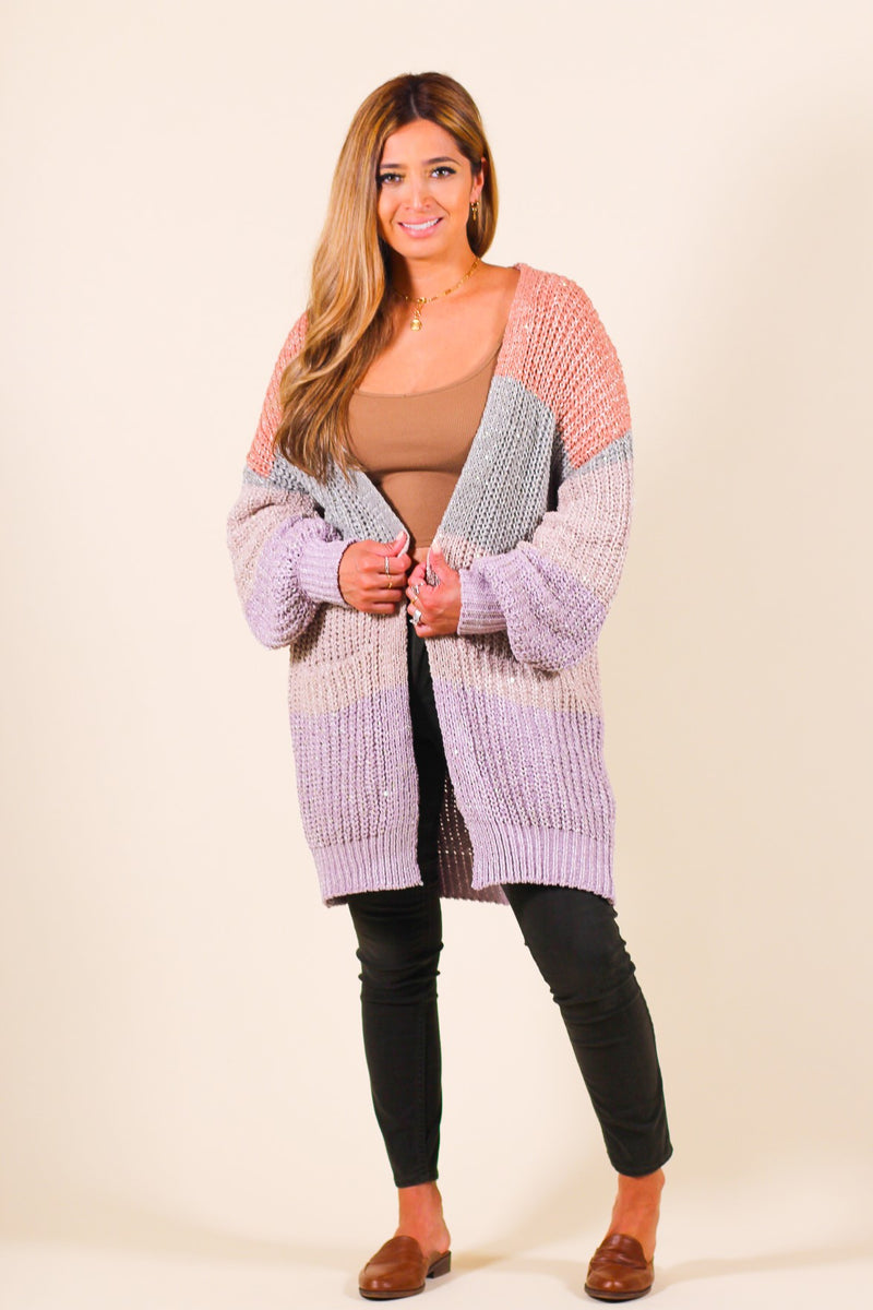 Pastel Multi-Colored Shimmer Cardigan