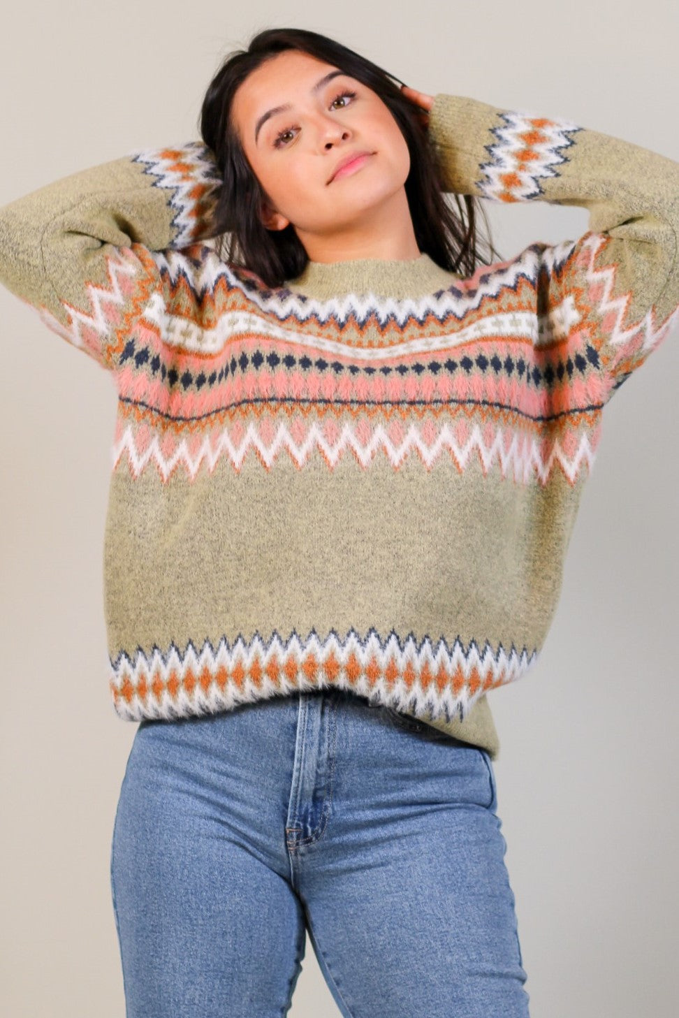 Oversized Intarsia Fuzzy Sweater