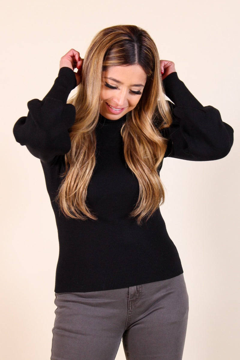 Puff Sleeve Turtleneck Top