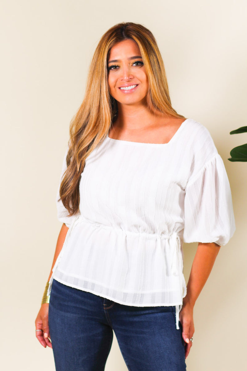 Short Sleeve Square Neck Peplum Top