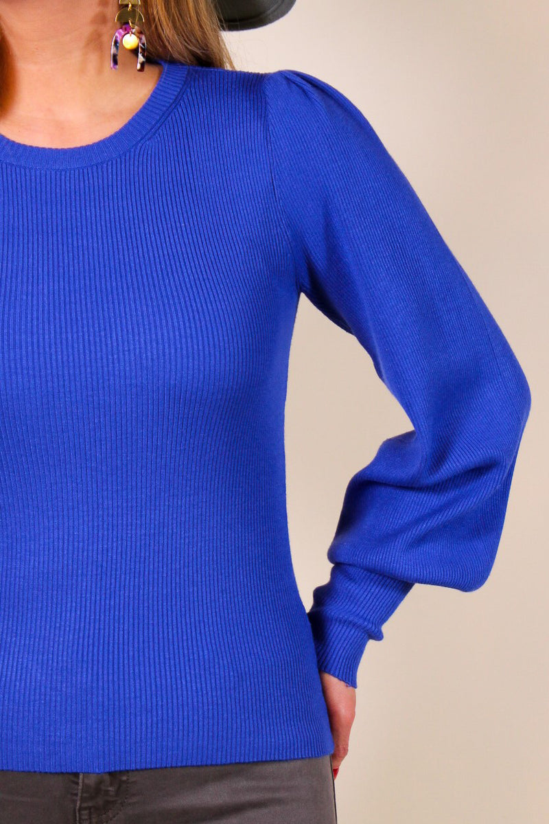Ribbed Puff Sleeve Round Neck Top