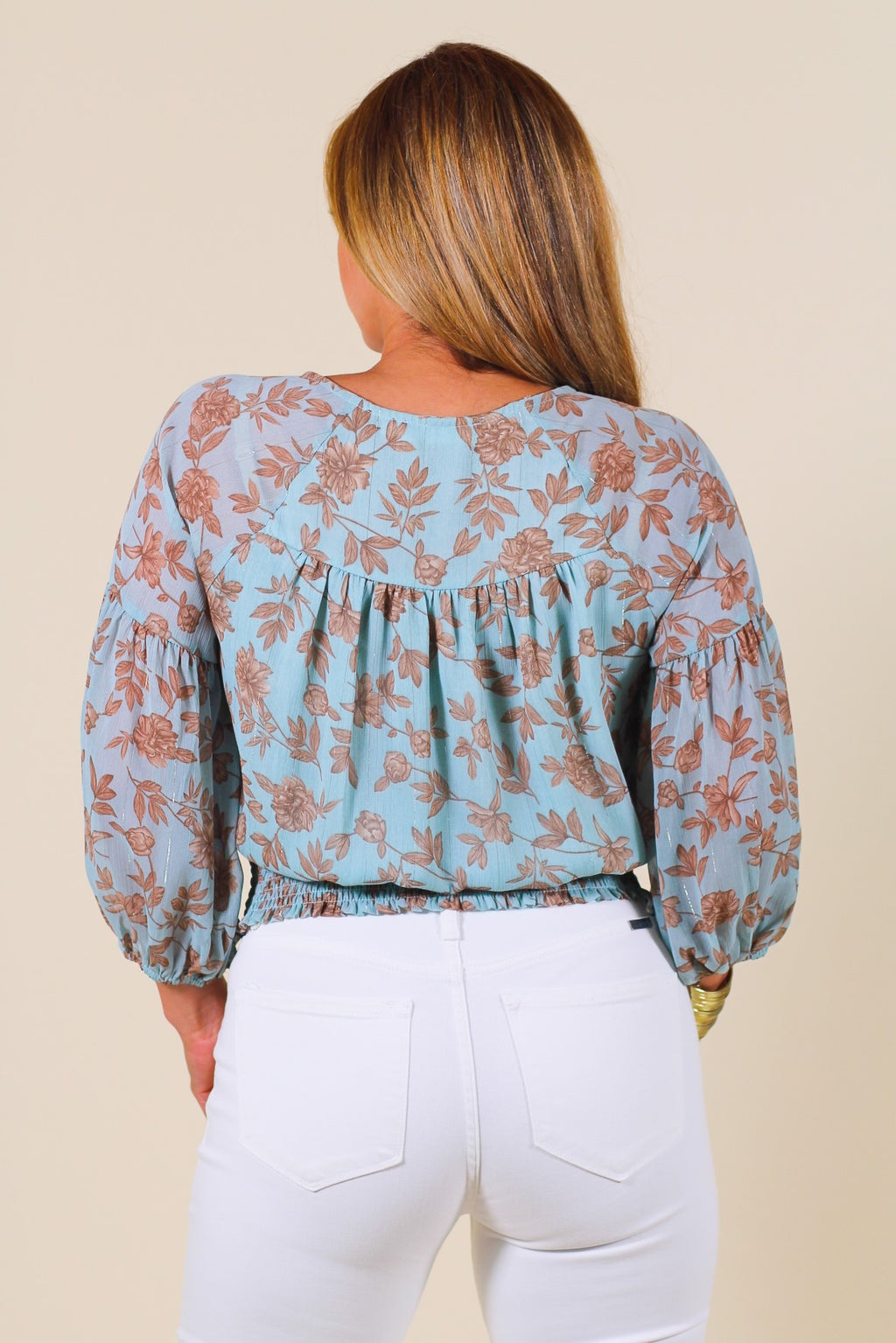 Floral Surplice Smocked Blouse