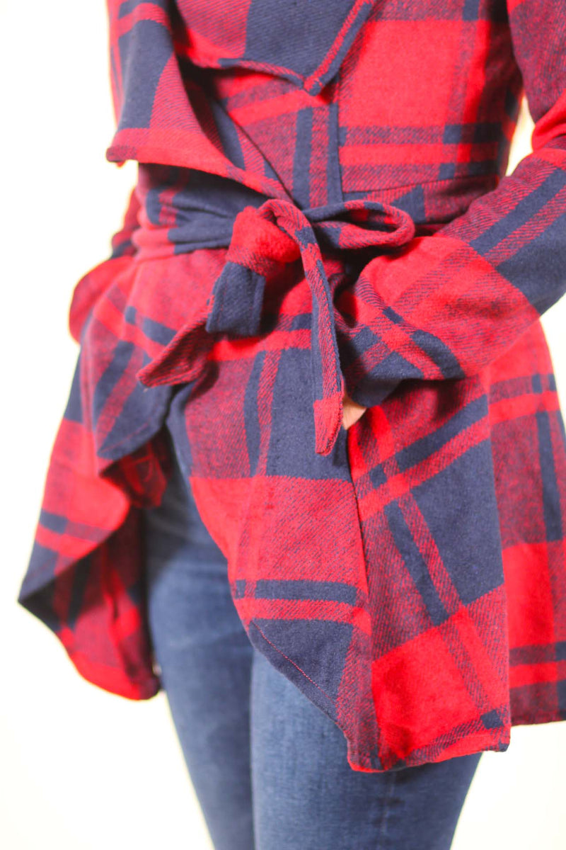 Plaid Turn Down Shawl Collar