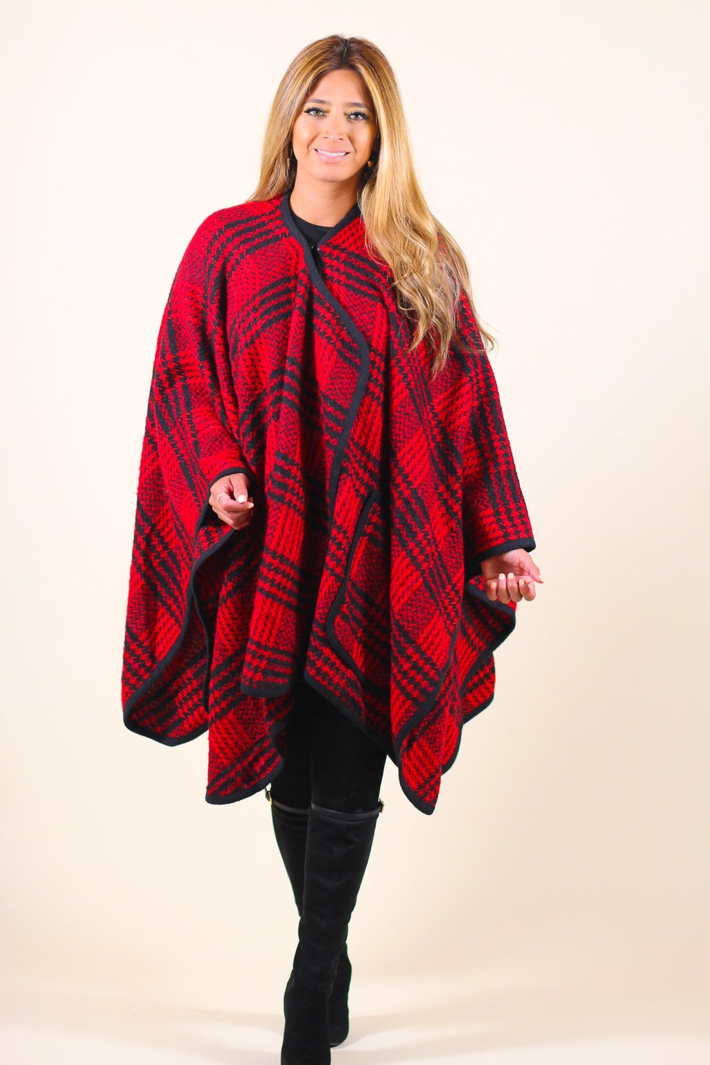 Wool Plaid Poncho