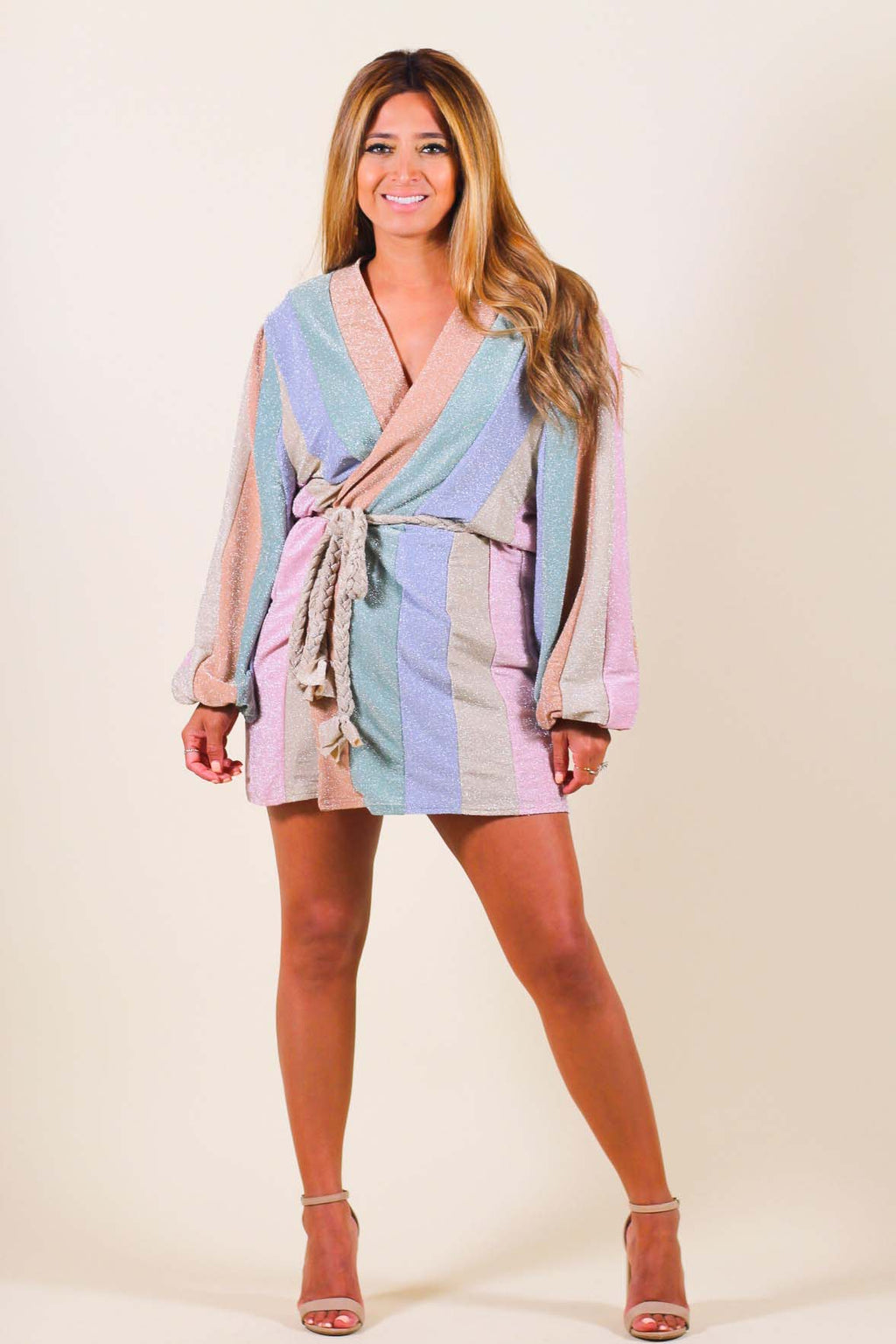 Balloon Sleeve Rope Tie Wrap Dress