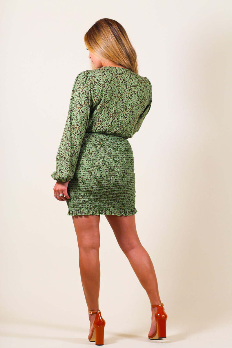 Smocking Skirt Long Sleeve Dress