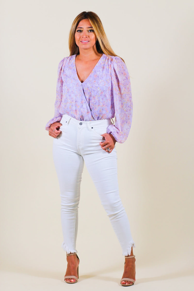Floral Long Sleeve Surplice Bodysuit