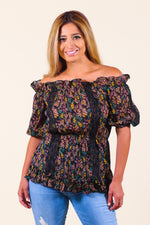 Cold Shoulder Puffy Sleeve Print Smock Top