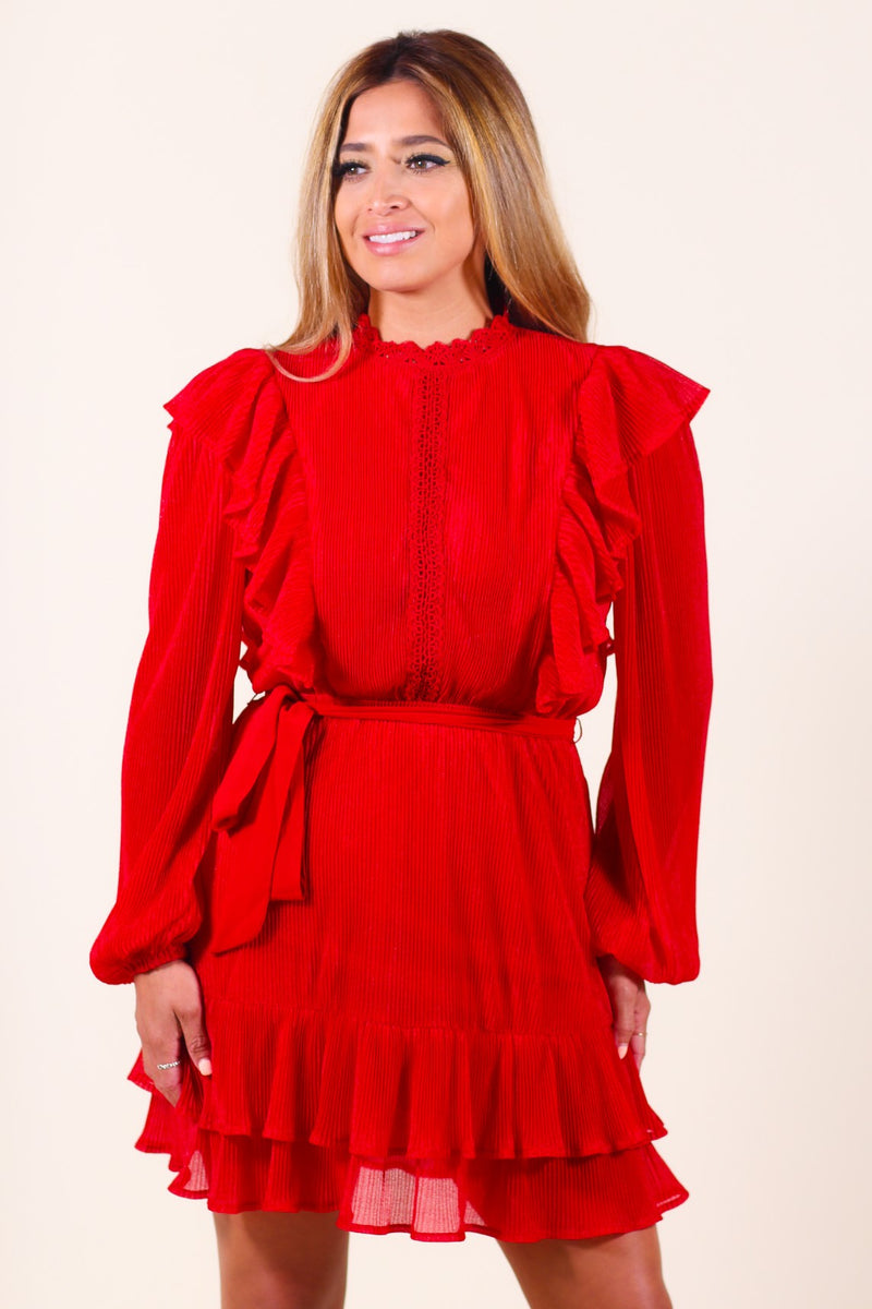 Pleated Self-Tied Long Sleeve Red Dress