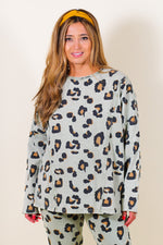 Long Sleeve Leopard Printed Cotton Tunic