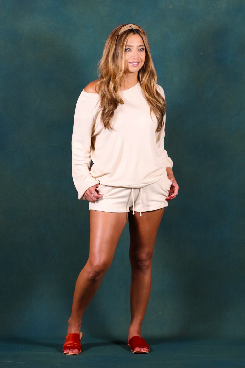 Waffle Knit Drop Shoulder Shorts Set