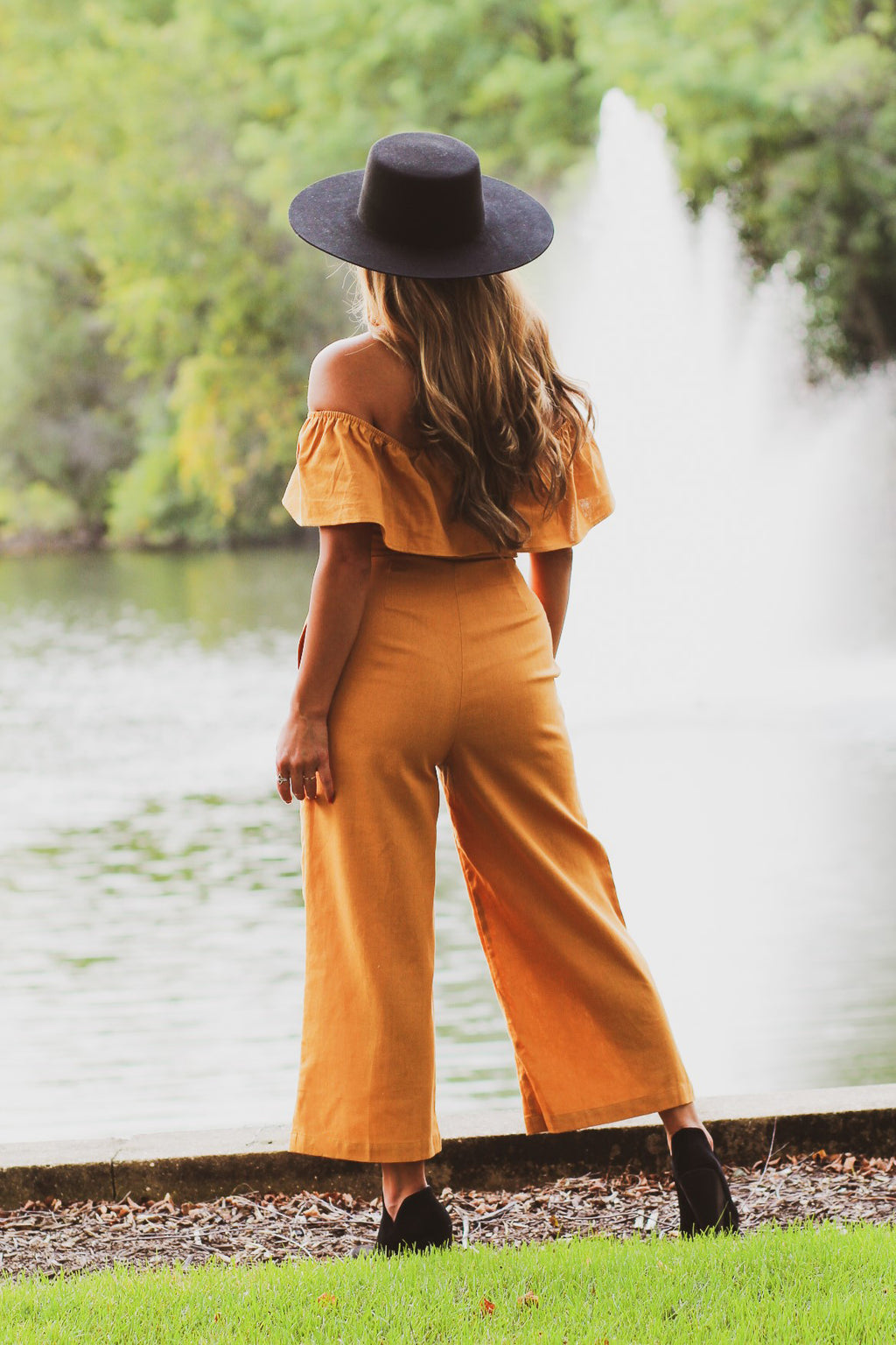 Off The Shoulder Button Jumpsuit