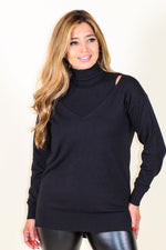Layered Cold Shoulder Sweater