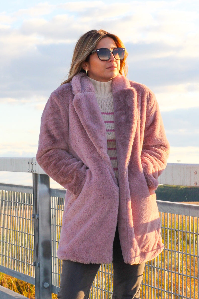 Mauve Faux Fur Coat