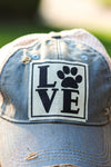 """Love PAW "" Distressed Trucker Cap"
