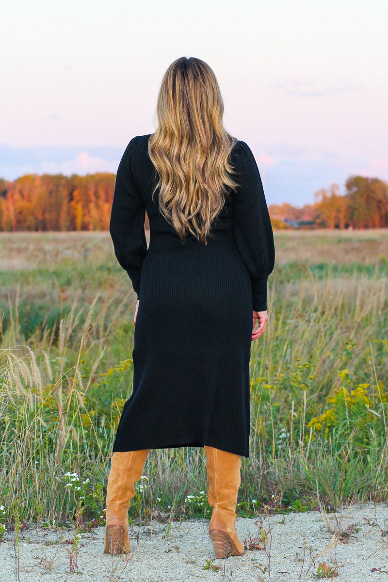 Puff Sleeve Ribbed Midi Dress