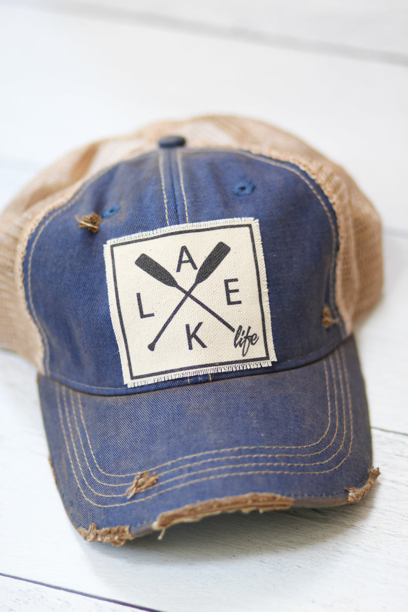 """Lake Life"" Distressed Trucker Cap"