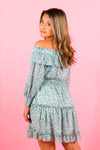 Off The Shoulder Long Sleeve Smocking Dress