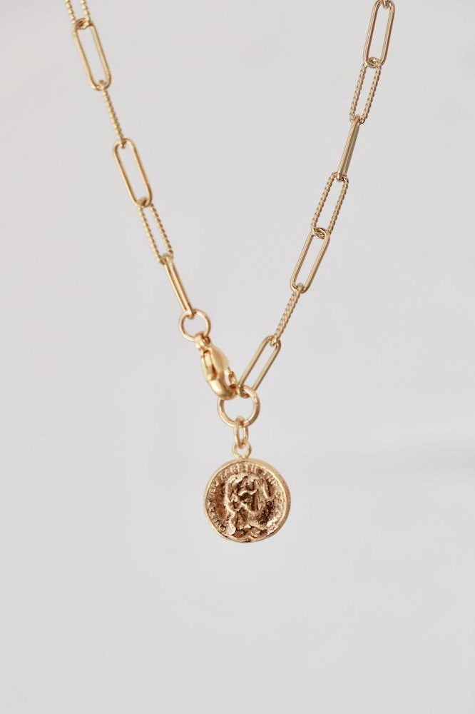 Elongated Chain With Vintage Coin