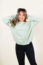 Slouchy Long Sleeve Washed Soft Terry Knit Pullover