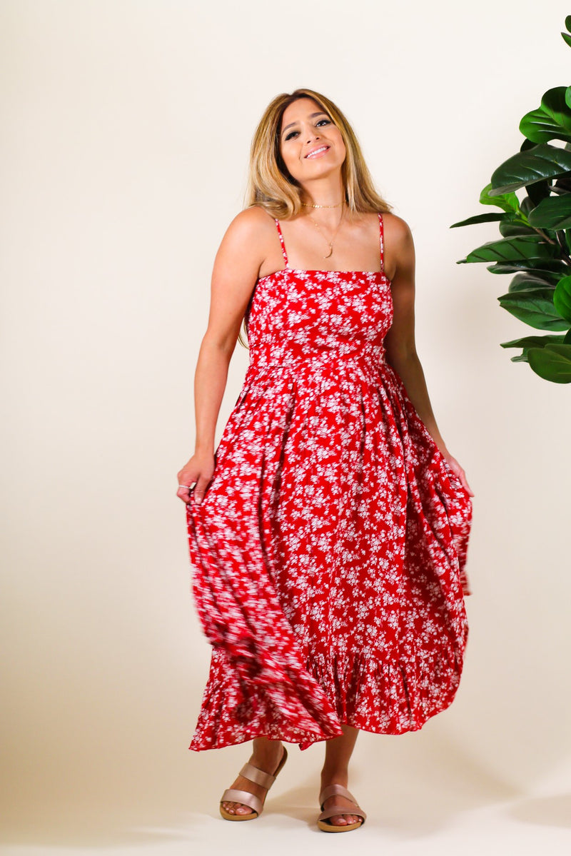 Asymmetrical Red Floral Midi Dress