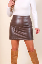 Chocolate Faux Leather Mini Skirt