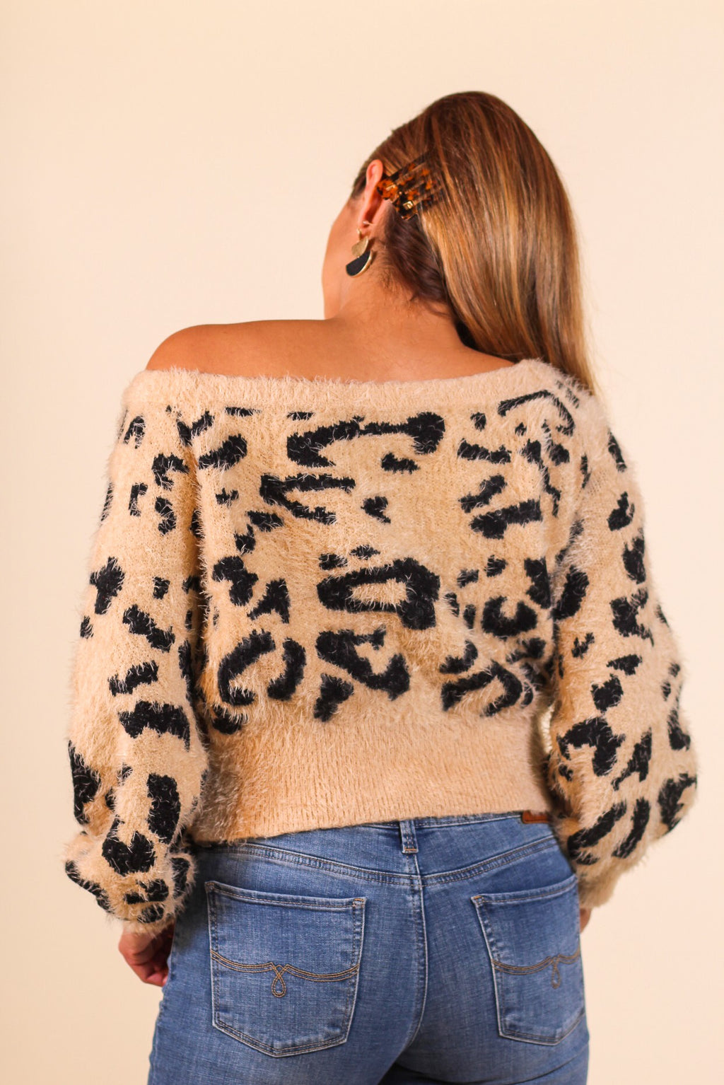 Leopard Print Off The Shoulder Sweater
