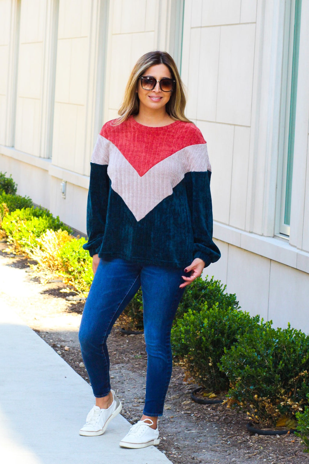 Chenille Rib Texture Knit Color Block Sweatshirt