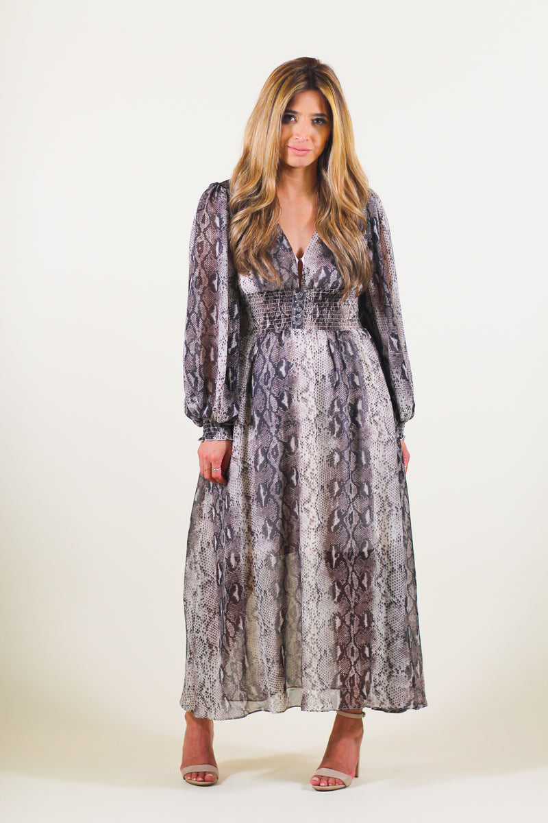 Snake Printed Smocked Waist Maxi Dress