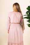 Round Neck Long Sleeve Peasant Maxi Dress