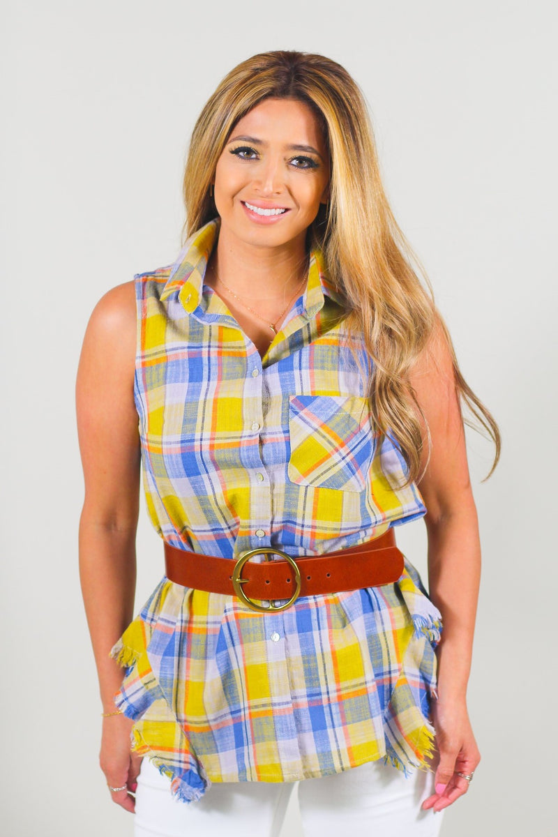Sleeveless Self Distressed Button Down Plaid Shirt